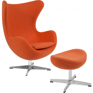 Wholesale Orange Wool Fabric Egg Chair with Tilt-Lock Mechanism and Ottoman