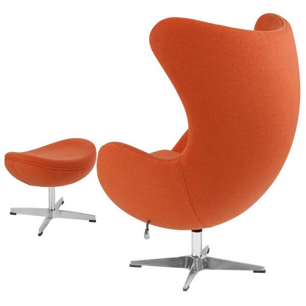 Chair and Ottoman Set Orange Wool Egg Chair/OTT