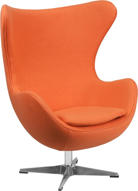Wholesale Orange Wool Fabric Egg Chair with Tilt-Lock Mechanism
