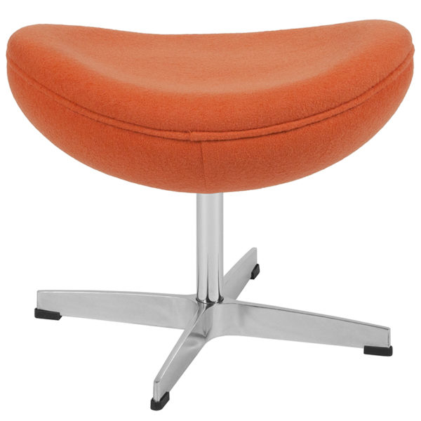 Retro Style Orange Wool Fabric Ottoman