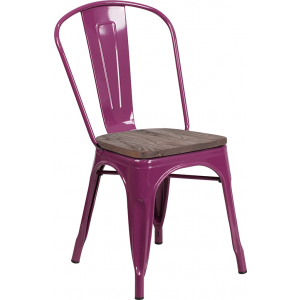 Wholesale Purple Metal Stackable Chair with Wood Seat