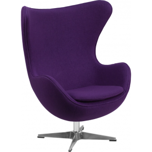 Wholesale Purple Wool Fabric Egg Chair with Tilt-Lock Mechanism