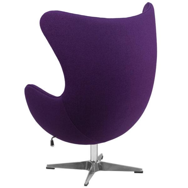 Lounge Chair Purple Wool Fabric Egg Chair