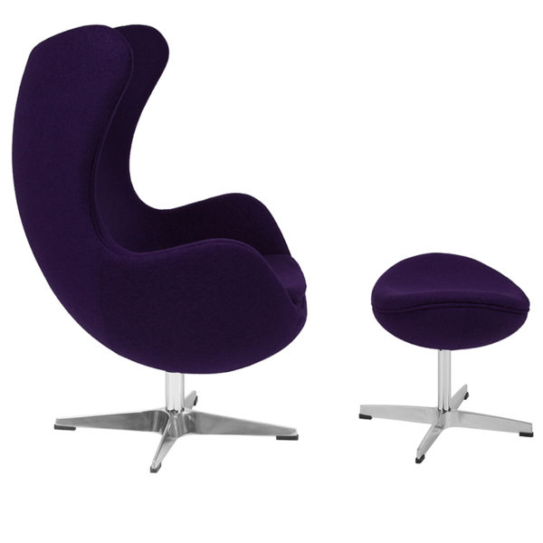 Lowest Price Purple Wool Fabric Egg Chair with Tilt-Lock Mechanism and Ottoman