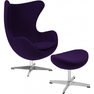 Wholesale Purple Wool Fabric Egg Chair with Tilt-Lock Mechanism and Ottoman