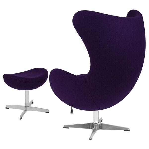 Chair and Ottoman Set Purple Wool Egg Chair/OTT