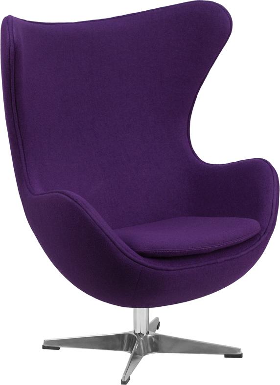 Wholesale Purple Wool Fabric Egg Chair with Tilt-Lock Mechanism