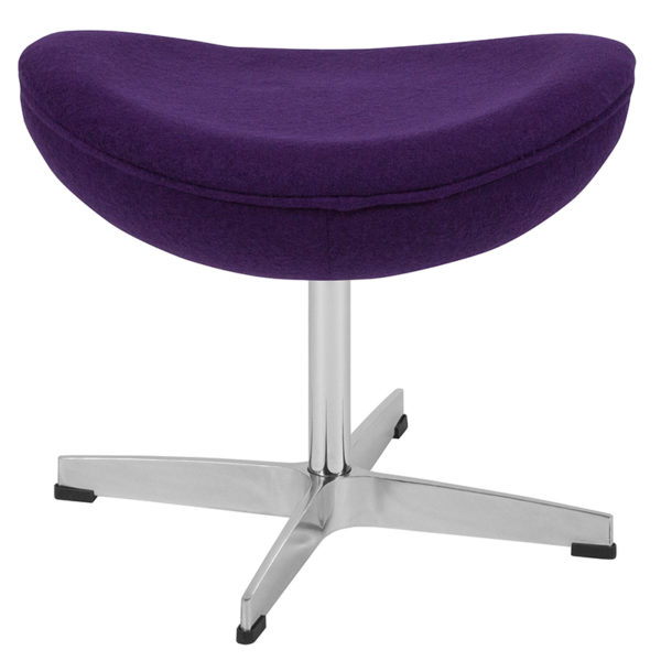 Retro Style Purple Wool Fabric Ottoman