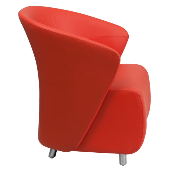 Lowest Price Red Leather Curved Barrel Back Lounge Chair