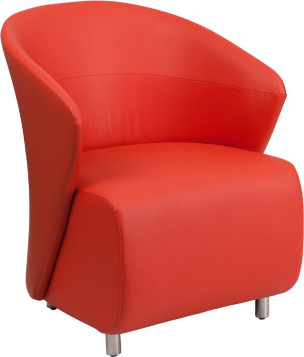 Wholesale Red Leather Curved Barrel Back Lounge Chair