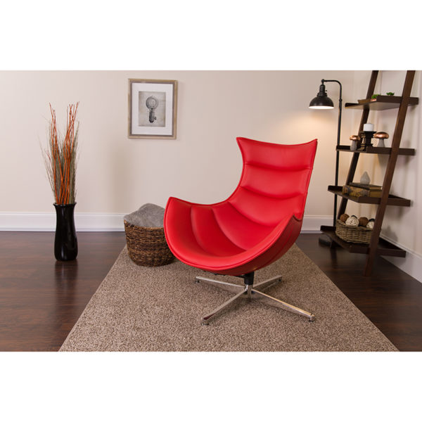 Lowest Price Red Leather Swivel Cocoon Chair