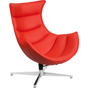 Wholesale Red Leather Swivel Cocoon Chair