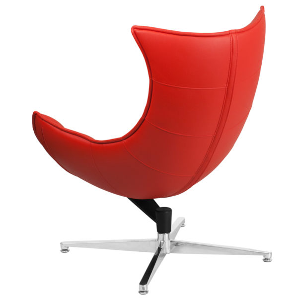 Lounge Chair Red Leather Cocoon Chair