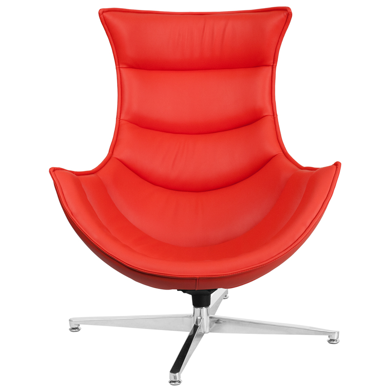 Red Leather Swivel Cocoon Chair Restaurant Furniture Org