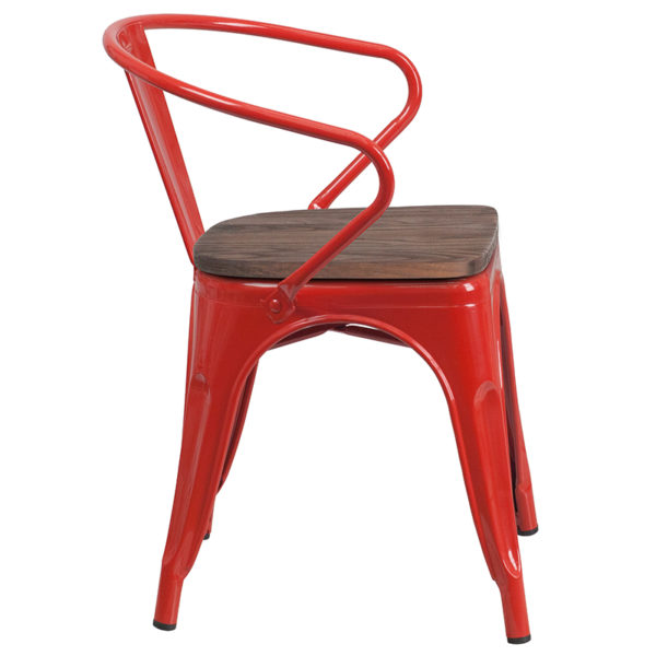 Lowest Price Red Metal Chair with Wood Seat and Arms