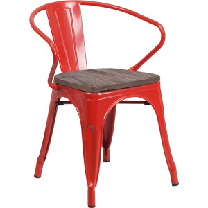 Wholesale Red Metal Chair with Wood Seat and Arms