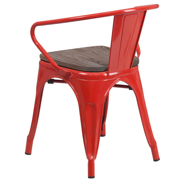 Stackable Bistro Style Chair Red Metal Chair With Arms