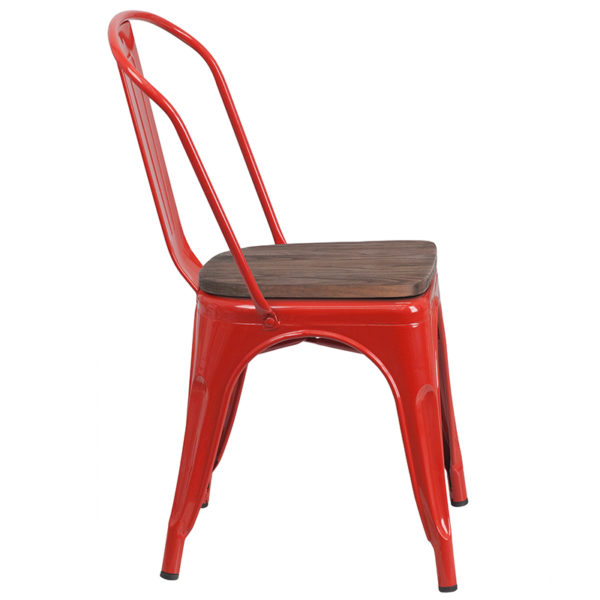 Lowest Price Red Metal Stackable Chair with Wood Seat