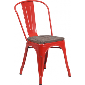 Wholesale Red Metal Stackable Chair with Wood Seat