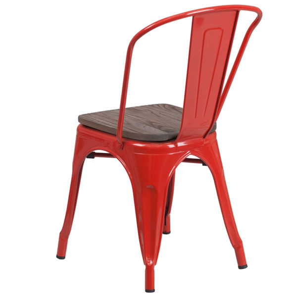 Stackable Bistro Style Chair Red Metal Stack Chair
