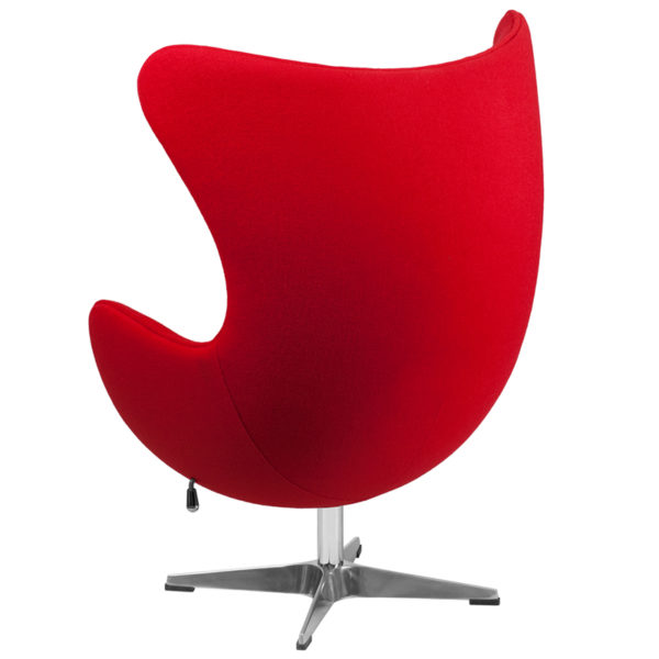 Lounge Chair Red Wool Fabric Egg Chair