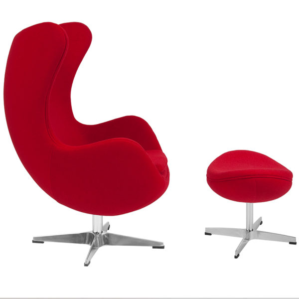 Lowest Price Red Wool Fabric Egg Chair with Tilt-Lock Mechanism and Ottoman