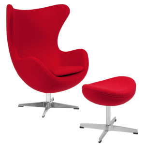 Wholesale Red Wool Fabric Egg Chair with Tilt-Lock Mechanism and Ottoman