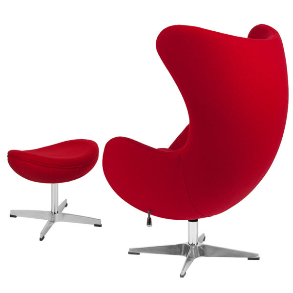 Chair and Ottoman Set Red Wool Egg Chair/OTT