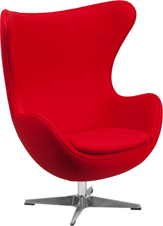 Wholesale Red Wool Fabric Egg Chair with Tilt-Lock Mechanism