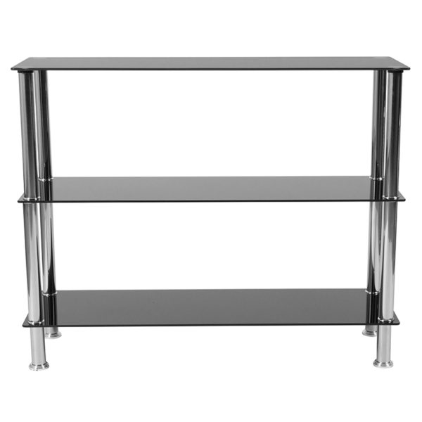 """Lowest Price Riverside Collection 3 Shelf 31.5""""H Glass Storage Display Unit Bookcase with Stainless Steel Frame in Black"""