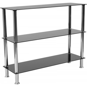 "Wholesale Riverside Collection 3 Shelf 31.5""H Glass Storage Display Unit Bookcase with Stainless Steel Frame in Black"