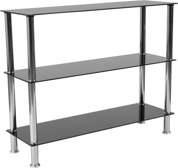 """Wholesale Riverside Collection 3 Shelf 31.5""""H Glass Storage Display Unit Bookcase with Stainless Steel Frame in Black"""