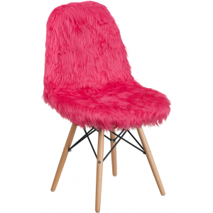 Wholesale Shaggy Dog Hot Pink Accent Chair