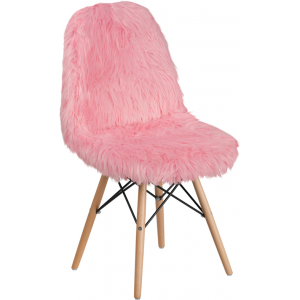 Wholesale Shaggy Dog Light Pink Accent Chair
