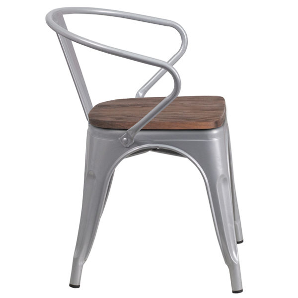 Lowest Price Silver Metal Chair with Wood Seat and Arms