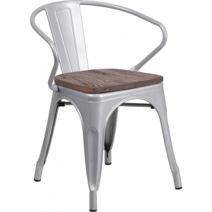 Wholesale Silver Metal Chair with Wood Seat and Arms