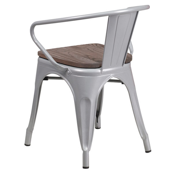 Stackable Bistro Style Chair Silver Metal Chair With Arms