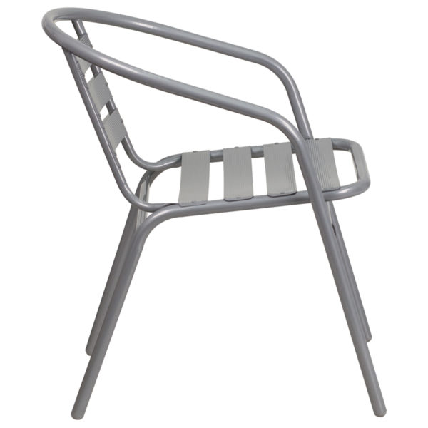 Lowest Price Silver Metal Restaurant Stack Chair with Aluminum Slats