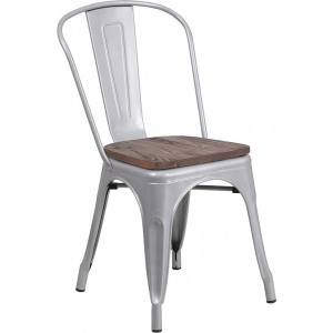 Wholesale Silver Metal Stackable Chair with Wood Seat