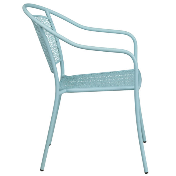 Lowest Price Sky Blue Indoor-Outdoor Steel Patio Arm Chair with Round Back