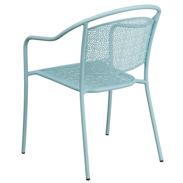 Stackable Patio Chair Blue Round Back Patio Chair