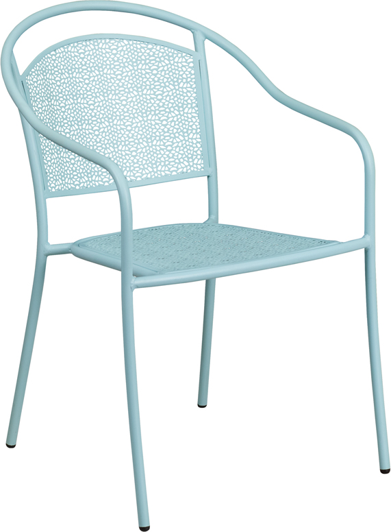 Wholesale Sky Blue Indoor-Outdoor Steel Patio Arm Chair with Round Back