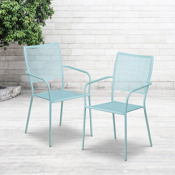 Lowest Price Sky Blue Indoor-Outdoor Steel Patio Arm Chair with Square Back