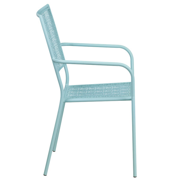 Outdoor Patio Chair Blue Square Back Patio Chair
