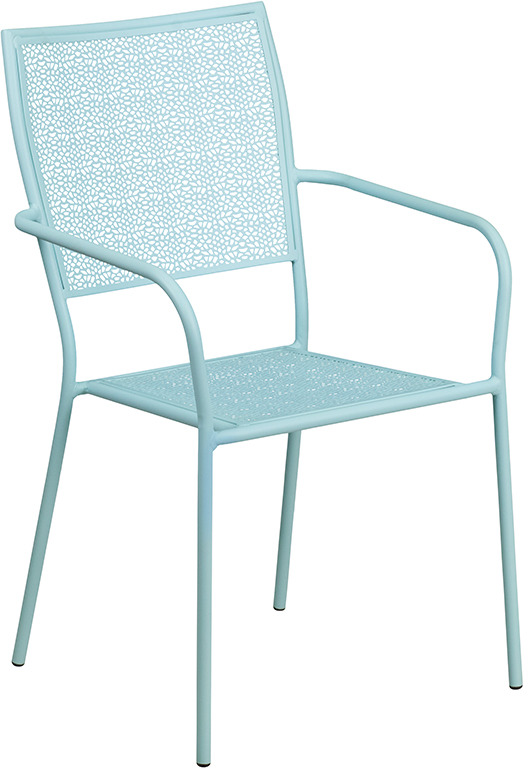 Wholesale Sky Blue Indoor-Outdoor Steel Patio Arm Chair with Square Back