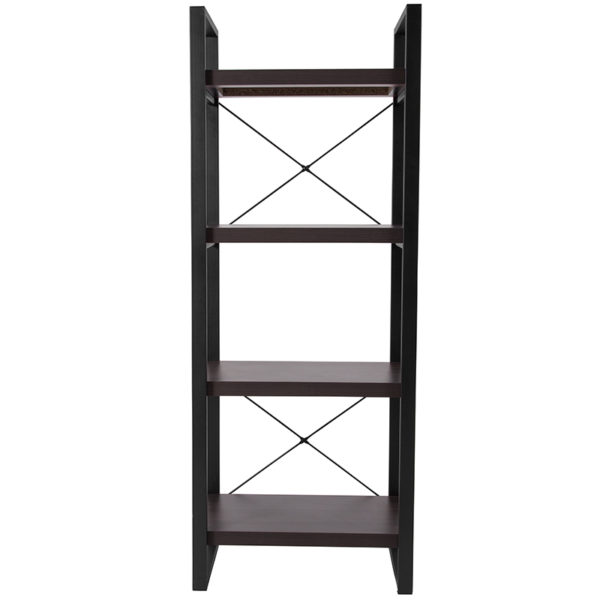 "Lowest Price Thompson Collection 4 Shelf 62""H Etagere Bookcase in Charcoal Wood Grain Finish"
