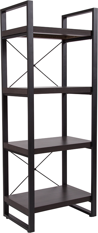 "Wholesale Thompson Collection 4 Shelf 62""H Etagere Bookcase in Charcoal Wood Grain Finish"