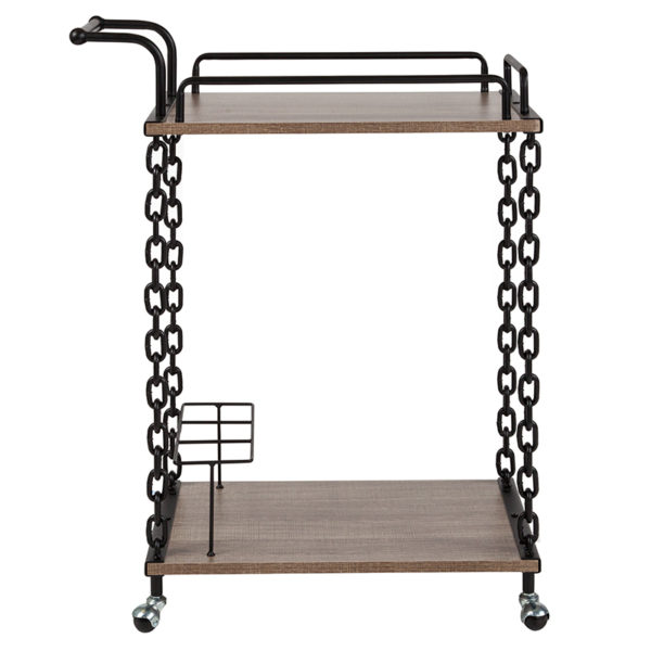 Lowest Price Uptown Light Oak Wood and Industrial Iron Kitchen Serving and Bar Cart