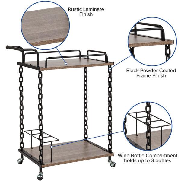 Mobile Server and Bar Cart with pull/push handle bar Oak Wood Kitchen Bar Cart