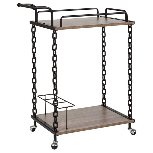 Wholesale Uptown Light Oak Wood and Industrial Iron Kitchen Serving and Bar Cart